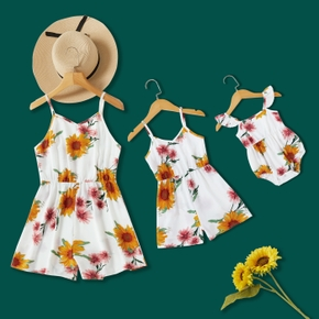Sunflower Printed Matching White Sling Shorts Rompers