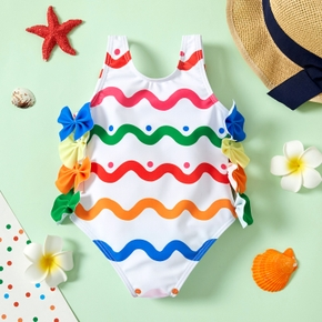1pc Baby Girl Polka dots Print Bowknot Summer More Festivals Swimwear
