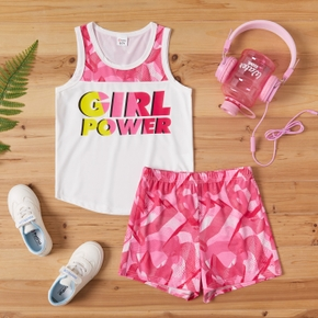 2-piece Kid Girl Letter Print Colorblock Sleeveless Tank Top and Stripe Geo Print Shorts Casual Set