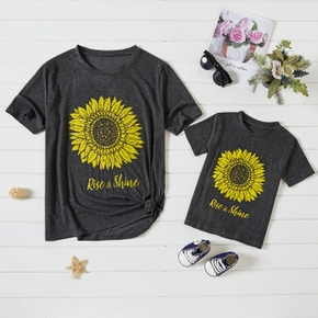 Sunflower Print Dark Grey Short Sleeve T-shirts for Mom and Me