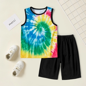 Tie Dye Tank Top and Shorts Athleisure Set for Toddlers/Kids