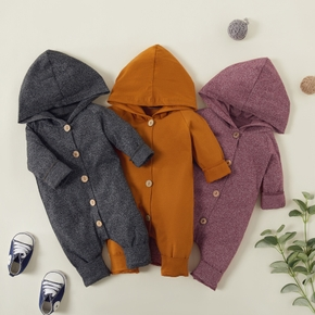 Baby Solid Cardigan Design Hooded Long-sleeve Jumpsuit