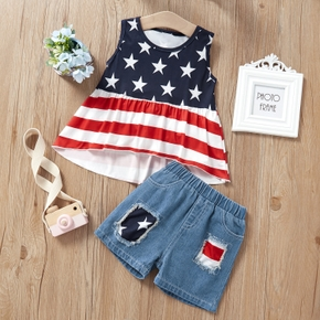 2-piece Baby / Toddler Girl Casual Camisole and Denim Shorts Set of Independence Day