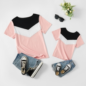 Color Block Splice Short Sleeve T-shirts for Mommy and Me