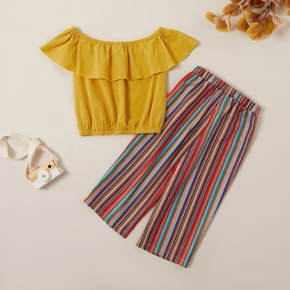 Pretty Solid Flounced Collar Top and Striped Pants Set
