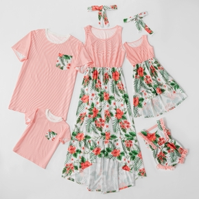 Mosaic Stripe Floral Print Family Matching Sets(Tank Dresses - T-shirts - Baby Rompers)
