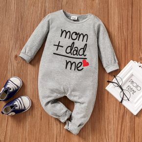 100% Cotton Letter and Heart Print Long-sleeve Gery Baby Jumpsuit