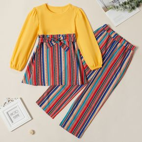2-piece Kid Girl Bowknot Design Colorblock Striped Long-sleeves Tee and Pants Set