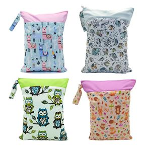 Double Pockets Animal Waterproof Hanging Cloth Diaper Wet/Dry Bags