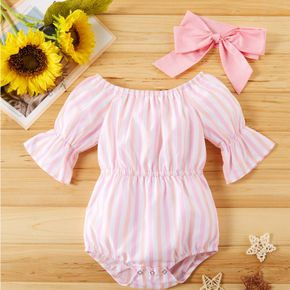 Adorable Baby Girl 2pcs Stripes Print Flare-sleeve Jumpsuit with Headband