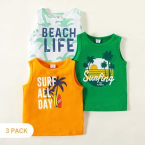 3-piece Toddler Boy Vacation Letter Coconut Tree Print Vests