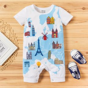 1pc Baby Boy Casual House Print Short-sleeve Jumpsuit