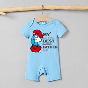 Smurfs Baby Boy/Girl Letter Graphic Father's Day Cotton Bodysuit/Romper