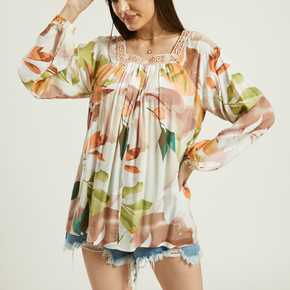 Sweet Floral Print Square neck long sleeve Shirt