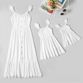 Solid White Ruffle Shoulder Dresses for Mommy and Me
