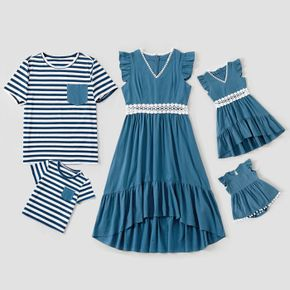 Blue Series Family Matching Sets(Ruffle Shoulder Lace Decor Irregular Hem Mini Dresses for Mommy and Me;Stripe Short Sleeve T-shirts With Pockets for Dad and Me)