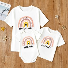 Rainbow Pattern White Short Sleeve T-shirts for Mom and Me