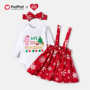 Care Bears Baby Girl 3-piece Merry Christmas Cotton Romper and Dress with Headband Set