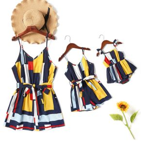 Color Block Print Sling Short Rompers for Mommy and Me