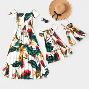 Floral Print Off Shoulder Matching Maxi Romper Dresses for Mommy and Me