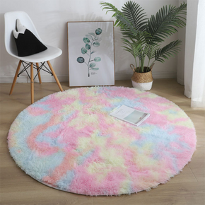 Nordic Tie-dye Gradient Round Carpet Chair Long Hair Bedroom Rug Home Living Room Bedside Mat Computer Entrance Hall Non-slip
