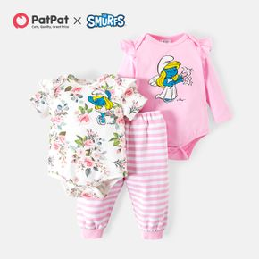 Smurfs Baby Girl Cotton Floral Flutter-sleeve Rompers and Stripe Pants