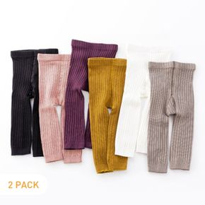 2pcs Solid Color Ribbed Fabric Baby Leggings