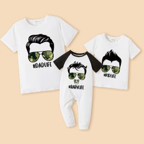 White or Grey Short Sleeve T-shirts for Daddy and Me(Raglan Sleeves T-shirts for Baby Rompers)