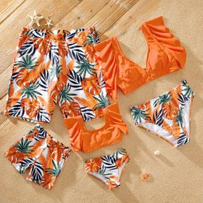 Leaf Print Family Matching Swimsuits(2-piece Ruffle-sleeve Swimsuits for Mom and Girl ; Swim Trunks for Dad and Boy)