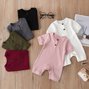 Ribbed Solid Short-sleeve Baby Romper