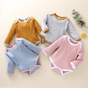 Ribbed Solid Long-sleeve Baby Romper