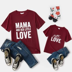 Letter Print Red Wine Short Sleeve T-shirts for Mom and Me