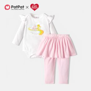 Care Bears 2-piece Cotton Rainbow Romper 2 in 1 Pants Baby Set