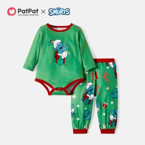 Smurfs 2-piece Baby Boy Christmas Gift Box Romper and Pants Set