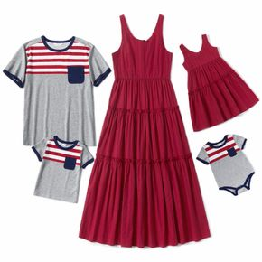 Mosaic Solid and Stripe Family Matching Red and Grey Sets