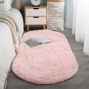 Oval Bedside Mat Home Thickened Hairy Children's Room Crawling Living Room Bedroom Full of Coffee Table Tatami Pink Carpet