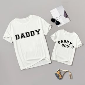Letter Print White Short Sleeve T-shirts for Dad and Me
