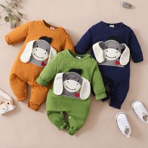 Donkey Embroidery 3D Ear Design Long-sleeve Green Baby Jumpsuit