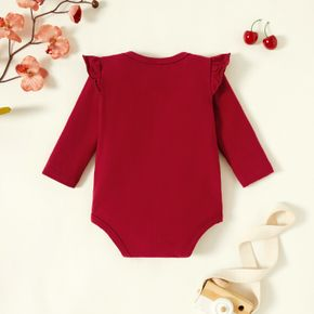 Baby Girl Graphics Letter and Heart-shaped Print Long-sleeve Romper