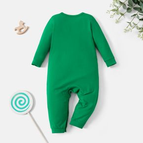 Christmas Baby Graphic Sloth and Letter Print Long-sleeve Jumpsuit
