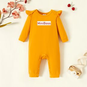 Baby Graphic Flutter-sleeve Ginger Long-sleeve Jumpsuit
