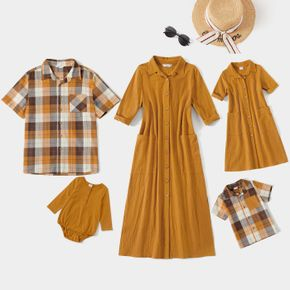 Solid or Plaid Print Family Matching Ginger Sets