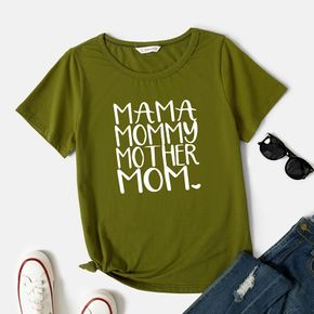 Graphic Army green Short-sleeve Round-collar Tee for Women