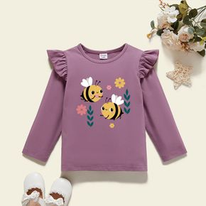 Toddler Graphic Girl Bee and Floral Print Ruffled Long-sleeve Tee