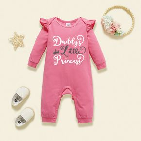 Baby Graphic Flutter-sleeve Long-sleeve Jumpsuit