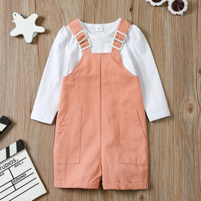 2-piece Toddler Girl Solid Long-sleeve T-shirt and Overalls with Pocket Set