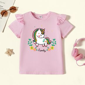 Kid Girl Graphic Unicorn and Floral and Stars Print Ruffled Short-sleeve Tee