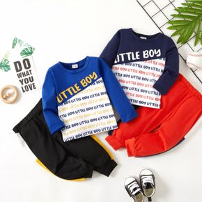 2-piece Baby Boy Letter Print Colorblock Long-sleeve Top and Elasticized Pants Set
