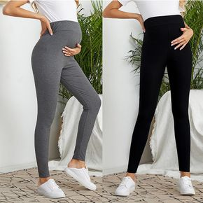 Solid Color Wideband Waist Maternity Leggings