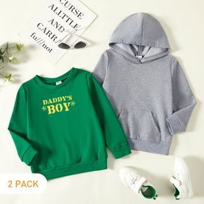 2-Pack Toddler Graphic Boy Letter and Stars Print Long-sleeve Pullover & Hooded Pullover Set